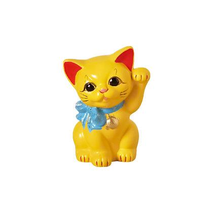 リボン猫 黄 招き猫