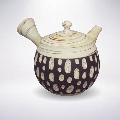 憲児陶苑 ささめ茶こし 白練込み黒水玉