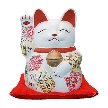限定品 「ねこラージュ」1和紙 萬助猫 7号 右手 赤座ぶとん付 白