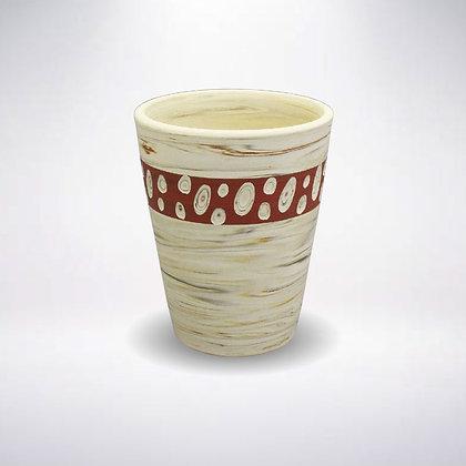 憲児陶苑 マグカップ 白練込み赤水玉