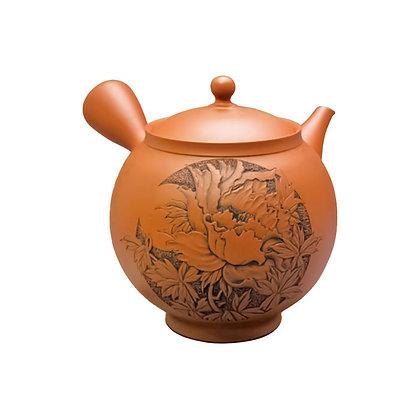 壺堂 朱泥高台牡丹彫 陶茶こし 木箱入