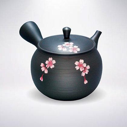 玉光窯 セラメッシュ 黒窯変 線段ピンク桜