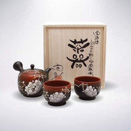 宗則 陶茶こし 朱窯変 金彩梅彫三点茶器揃い 木箱入