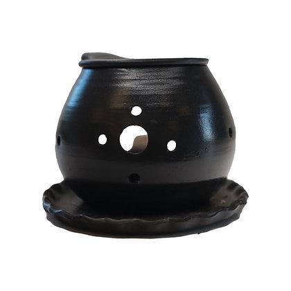 間宮 黒窯変 皿付 茶香炉
