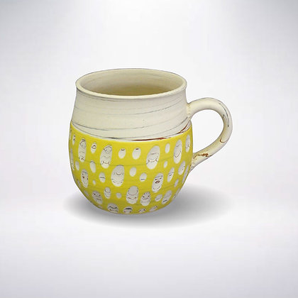 憲児陶苑 マグカップ 白練込み黄水玉