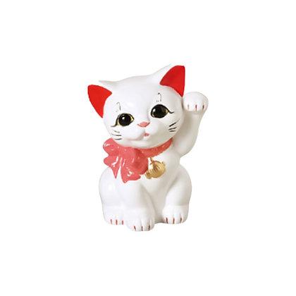 リボン猫 白 招き猫