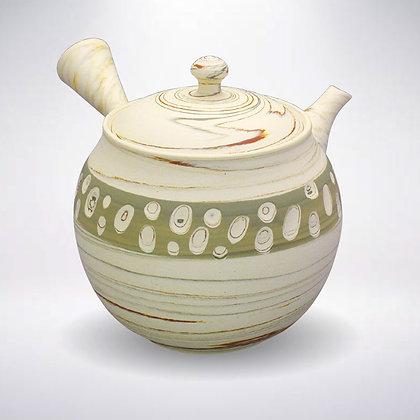 憲児陶苑 ささめ茶こし 白練込み緑水玉