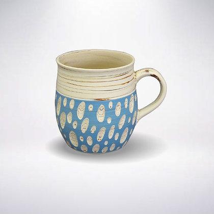 憲児陶苑 マグカップ 白練込みブルー水玉