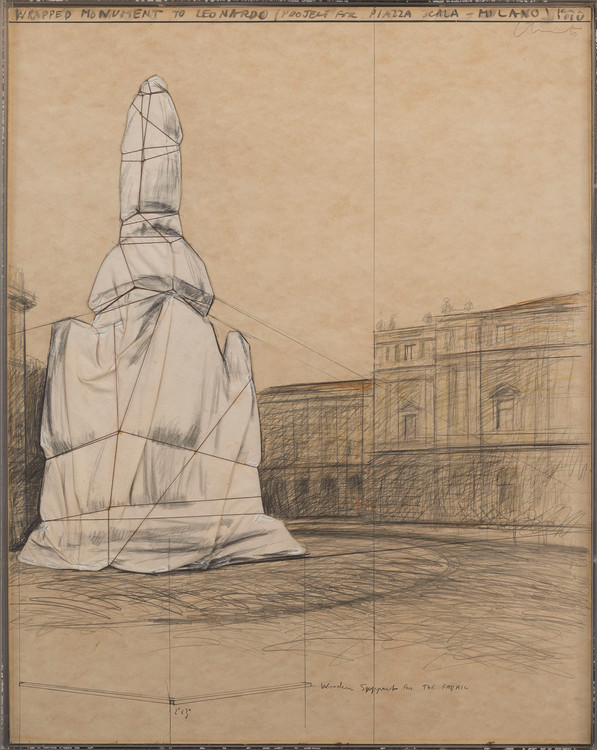 WRAPPED MONUMENT TO LEONARDO, PROJECT FOR PIAZZA SCALA - MILANO