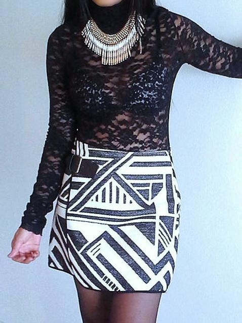 B/W Print Skirt