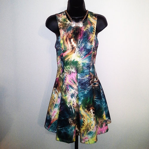 Green Print Multi Color Dress