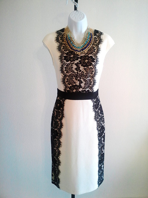 White with Black Lace Dress