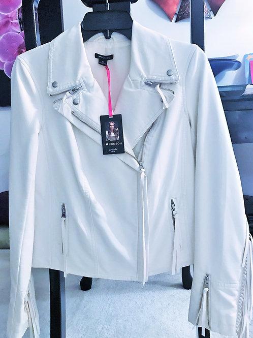 White Fringe Leather Jacket
