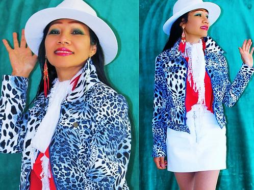 B/ White Leopard print Jacket