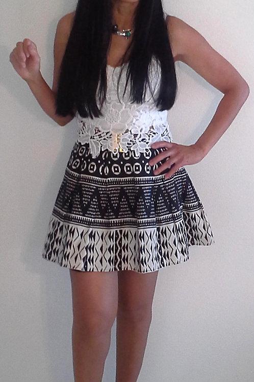 Skirt -Cream/Black
