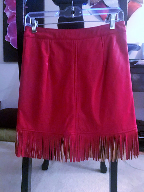 Red Fringe Leather Skirt