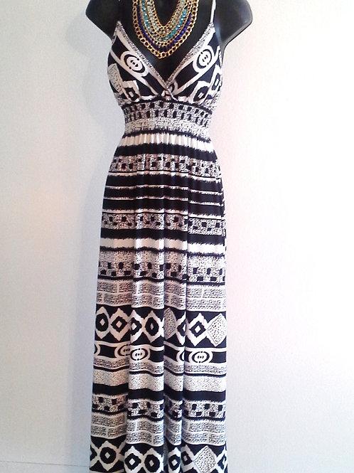 Long black and white Print Dress