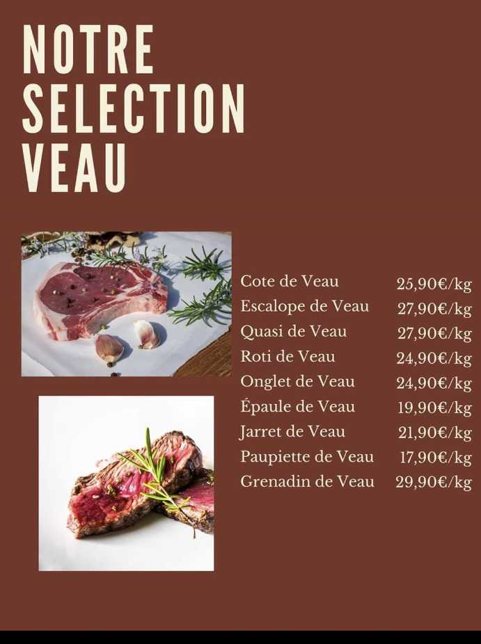 Menu Séléction Veau