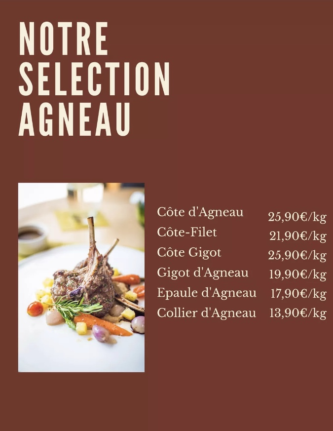 Menu Séléction Agneau