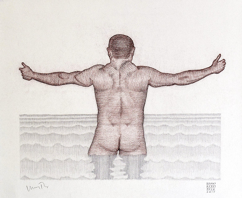 "Male nude chalk drawing.  ""Wave"" by Manny Reyes.  Chalk and Graphite on Strathmore Drawing Paper.  14"" x 16 1/2"".  2017."