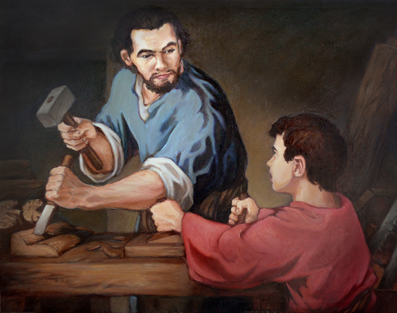 Joseph and Jesus in Carpenter's Shop