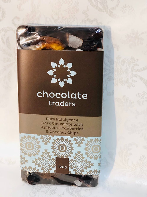 Dark chocolate pure indulgence - apricots, cranberries & coconut chips