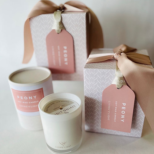 Living Light Peony Boxed Candle