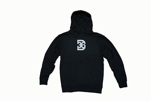 D36 Black Hoodie w/White Print