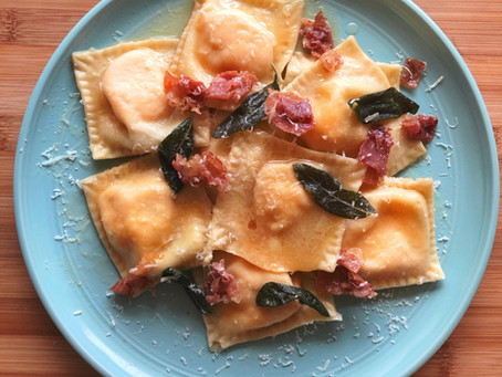 Butternut Squash Ravioli Browned Sage Butter and Crispy Prosciutto