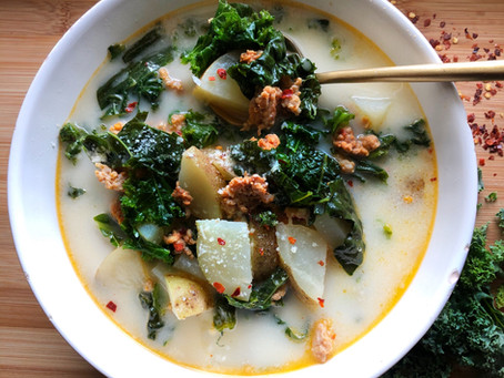 Spicy Italian Sausage, Kale and Potato Soup