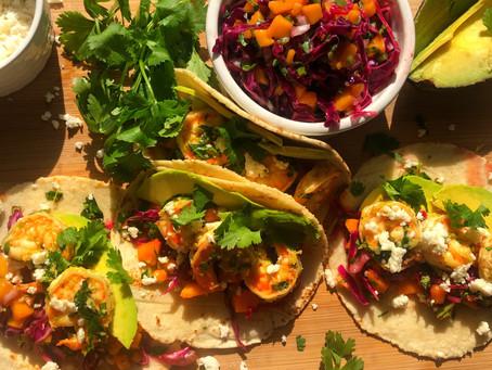 Basil Shrimp Tacos with a Jalapeno Mango Slaw