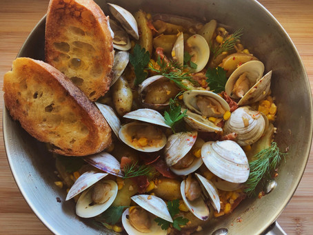 Summer Clam Stew with Corn, Fingerling Potatoes, and  Crispy Prosciutto