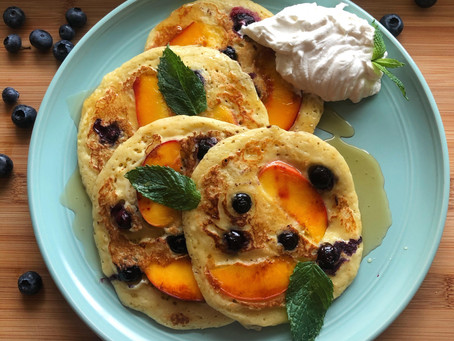 Peach and Blueberry Custard Pancakes
