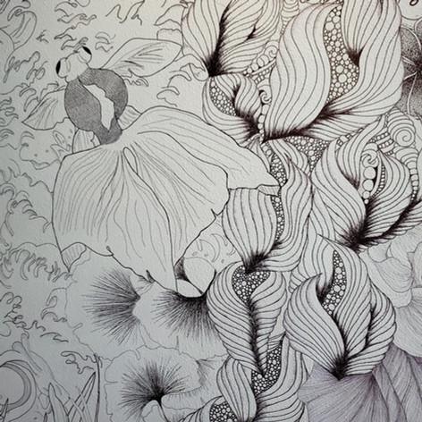 Koi pond zentangle mural