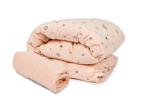 סט מצעים למיטת תינוק בצבע אפרסק עם הדפס כוכבים, ללא ציפית