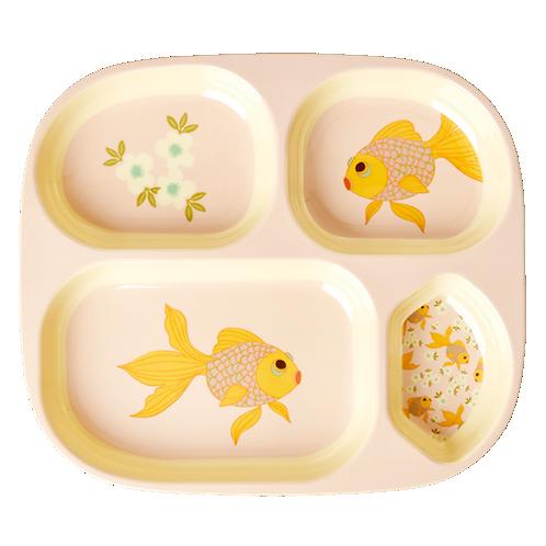 צלחת מלמין מחולקת דג זהב
