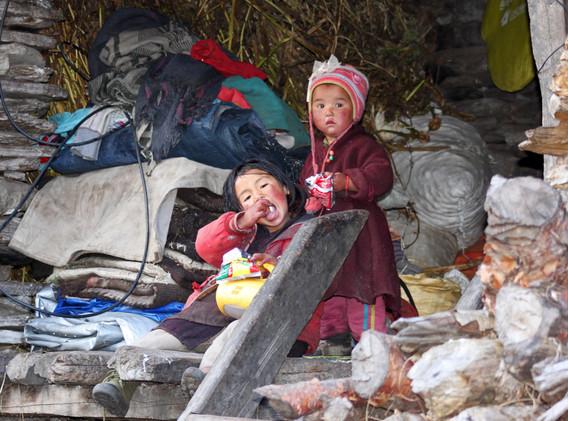 Enfants népalais au village de Samdo