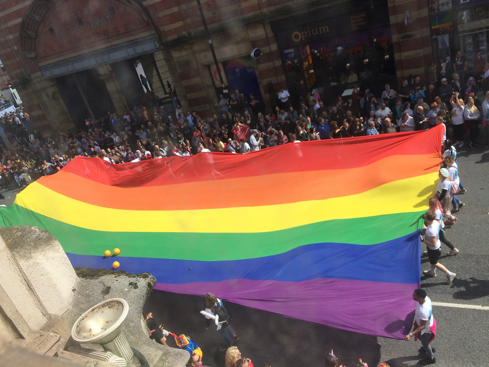 Great birds eye view from my therapy room on Deansgate Manchester City Centre of Gay Pride celebrations what a fantastic display and event that Manchester came be so proud of. thanks to everyone who took part you were amazing.