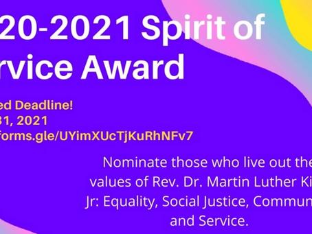 Seeking Nominations for 2021 Spirit of Service Awards!