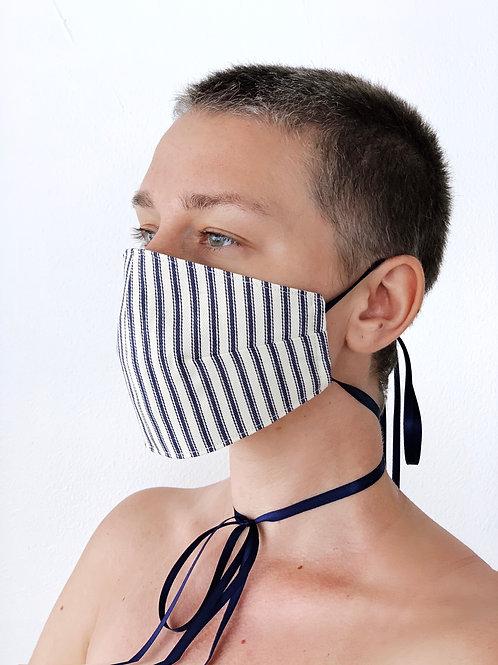 Protective mask in Navy Blue Stripe