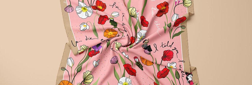 La Fleur Silk Scarf in Pink