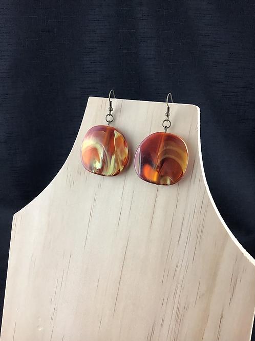 Orange swirl earrings