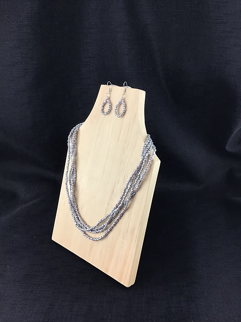 Silver bead necklace and earring jewellery set