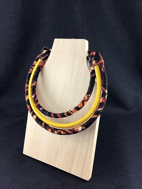 Sunset pattern fabric necklace