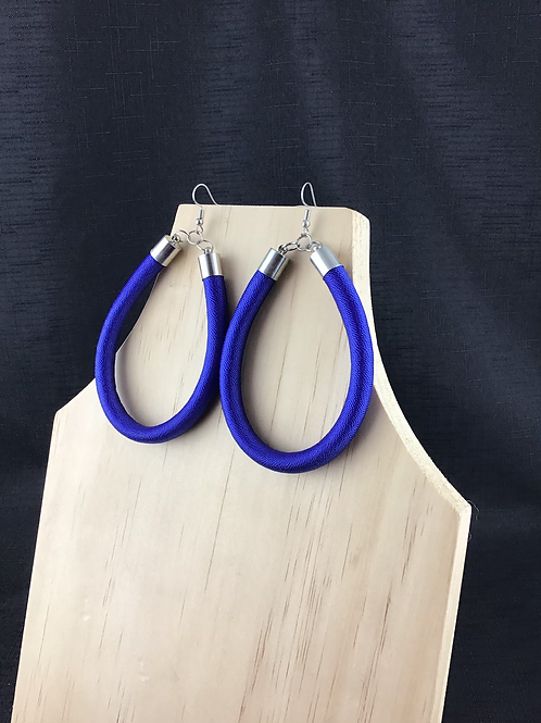 Royal blue fabric large hoop earrings