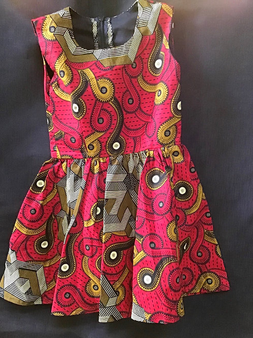 Young girls Red and Gold kitenge Dress