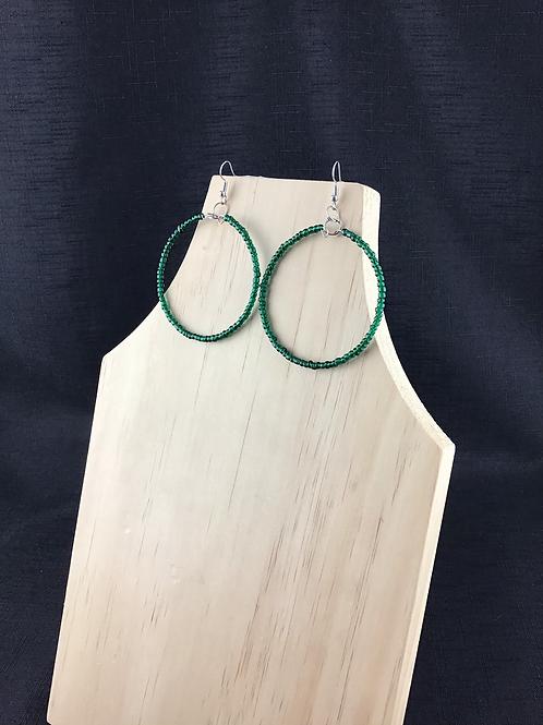 Green bead hoop earrings large