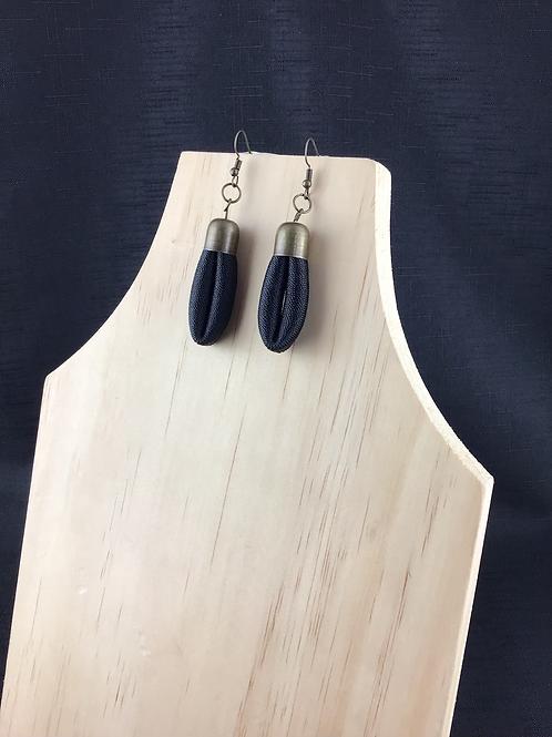 Black fabric tube earrings