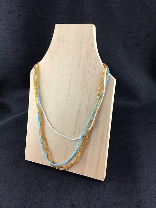 Blue yellow and white bead necklace