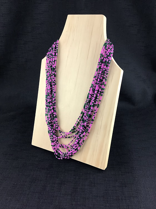 Bottle green and pink bead necklace